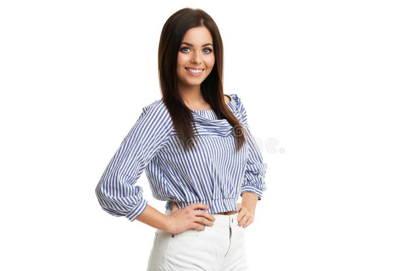 Caucasian brunette woman having fun and smiling isolated over white background royalty free stock photo
