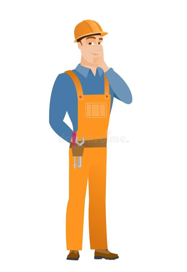 Caucasian builder thinking vector illustration vector illustration