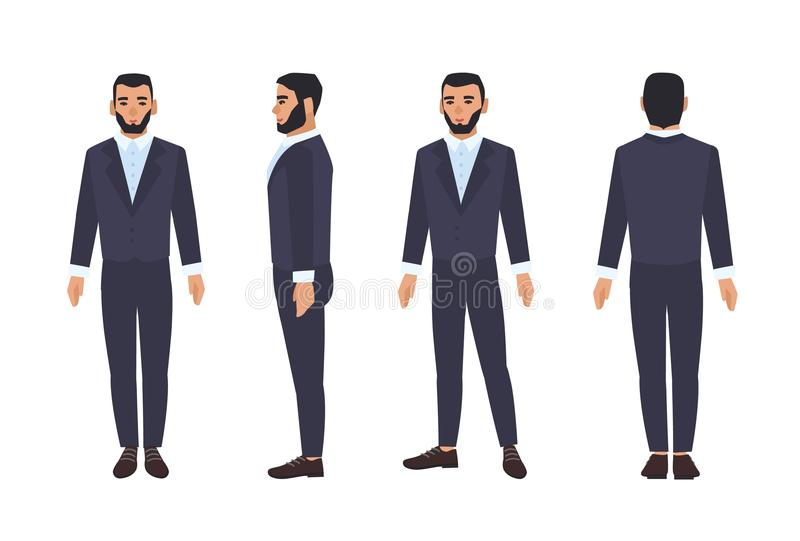 Caucasian business man or male office worker with beard dressed in smart suit or formal clothing. Flat cartoon character. Isolated on white background. Front vector illustration