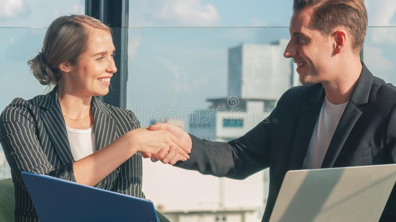 Caucasian business people having handshake after finish business deal stock images