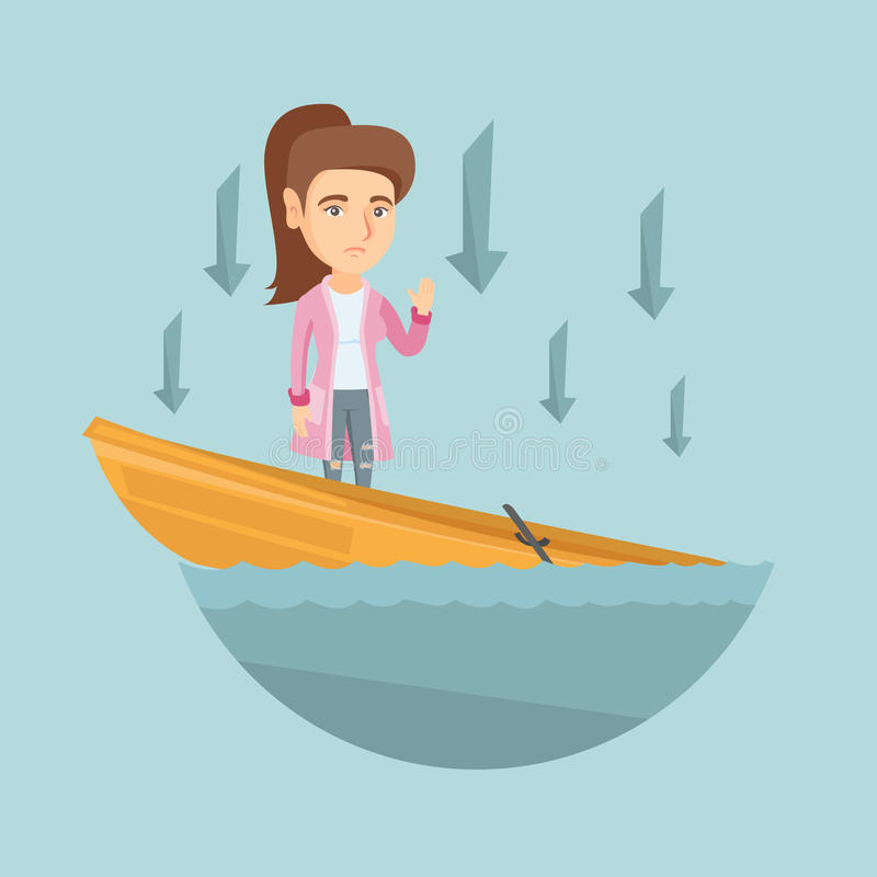 Caucasian business woman standing in sinking boat. Business woman standing in sinking boat and asking for help. Business woman sinking and arrows behind her vector illustration