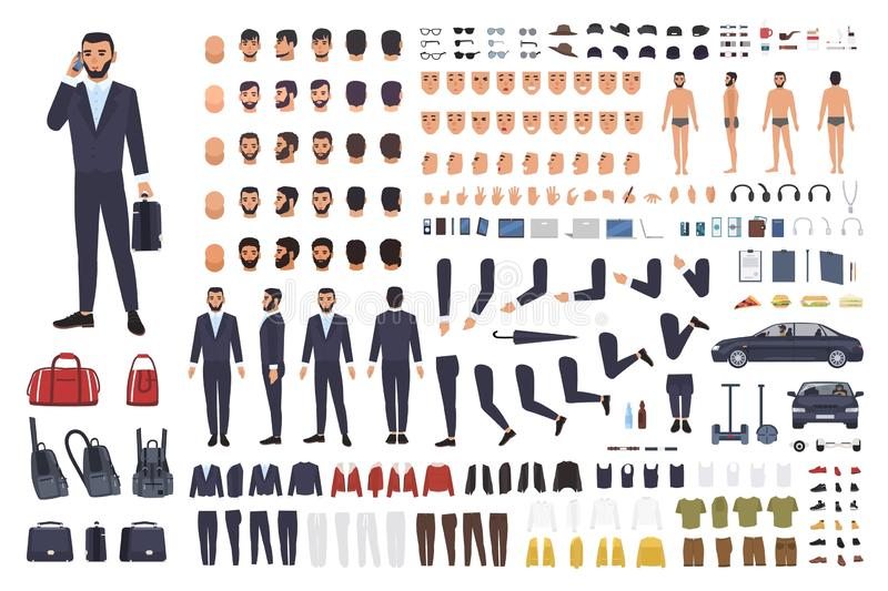 Caucasian businessman or clerk creation set or DIY kit. Bundle of male cartoon character body parts, office clothes stock illustration