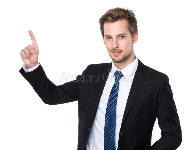 Caucasian businessman with finger touch imagery panel. Isolated on white stock images