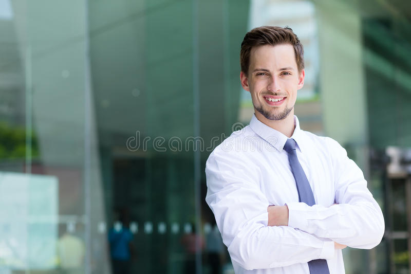 Caucasian businessman at outdoor royalty free stock image
