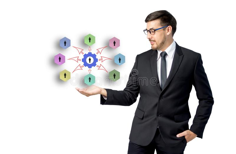 Caucasian businessman receiving hand with connection chart template royalty free stock photography