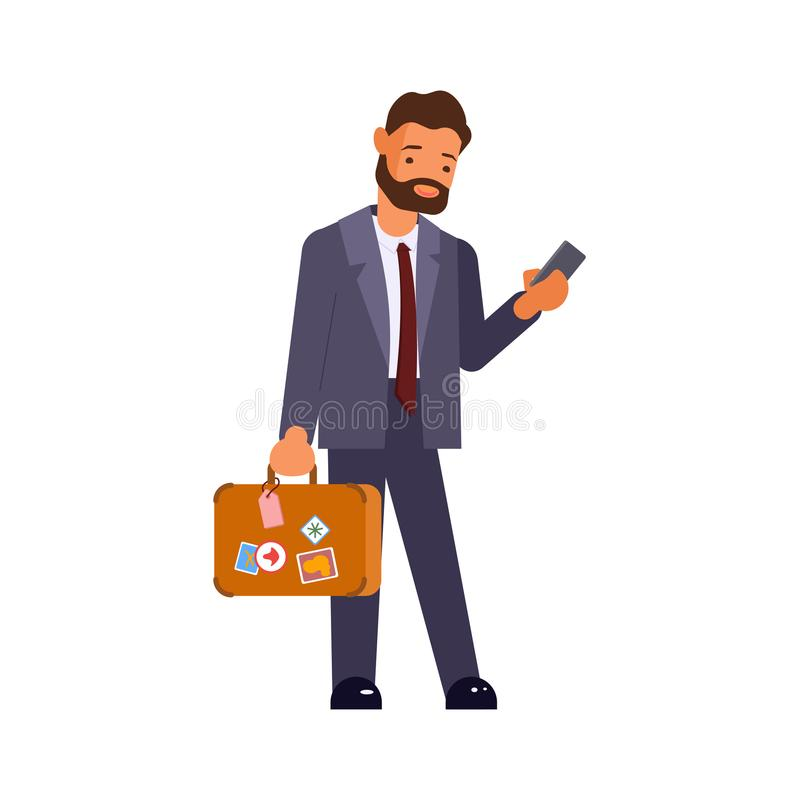 Caucasian businessman with suitcase. Young cartoon caucasian businessman with suitcase using smartphone on an escalator at the airport. Vector illustration eps10 stock illustration