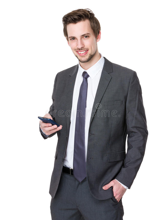 Caucasian businessman use of smartphone stock photos
