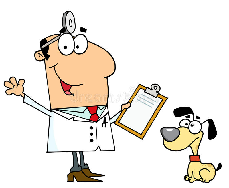 Caucasian cartoon dog veterinarian man stock illustration