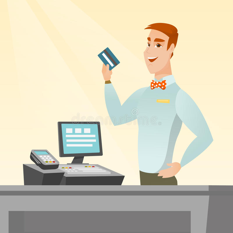 Caucasian cashier holding a credit card. royalty free illustration