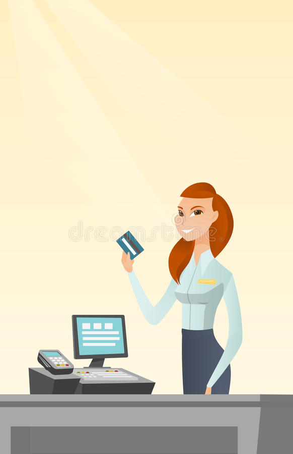 Caucasian cashier holding a credit card. vector illustration