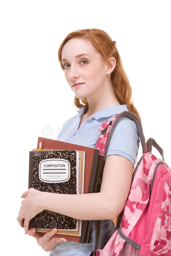 Download Caucasian College Student With Backpack Copybooks Stock Image - Image: 16965143