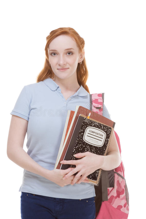 Caucasian college student with backpack copybooks stock images