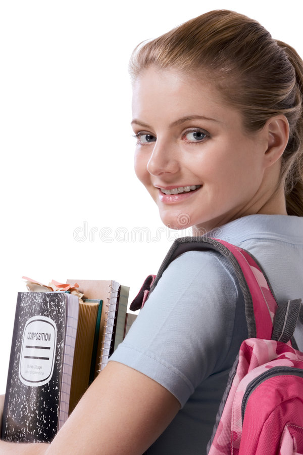 Caucasian college student with backpack notebooks stock photos