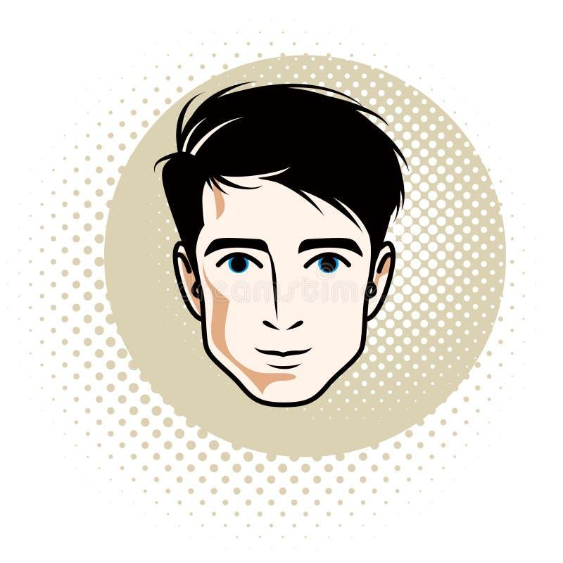 Caucasian confident brunet male, attractive vector human portrait vector illustration