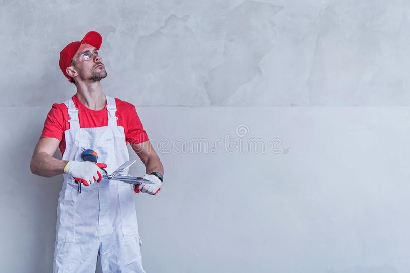 Contractor Wall Patching stock photo