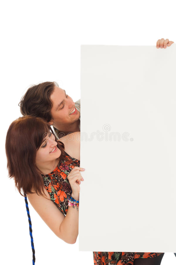 Caucasian Couple With Blank Papers Royalty Free Stock Photography
