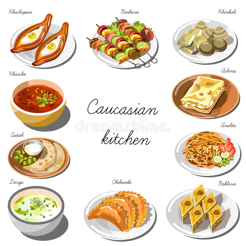 Caucasian cuisine set. Collection of food dishes stock illustration