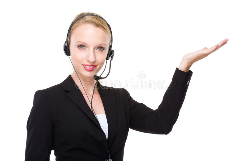 Caucasian customer services operator with hand presentation. Customer services officer isolated on white stock photos
