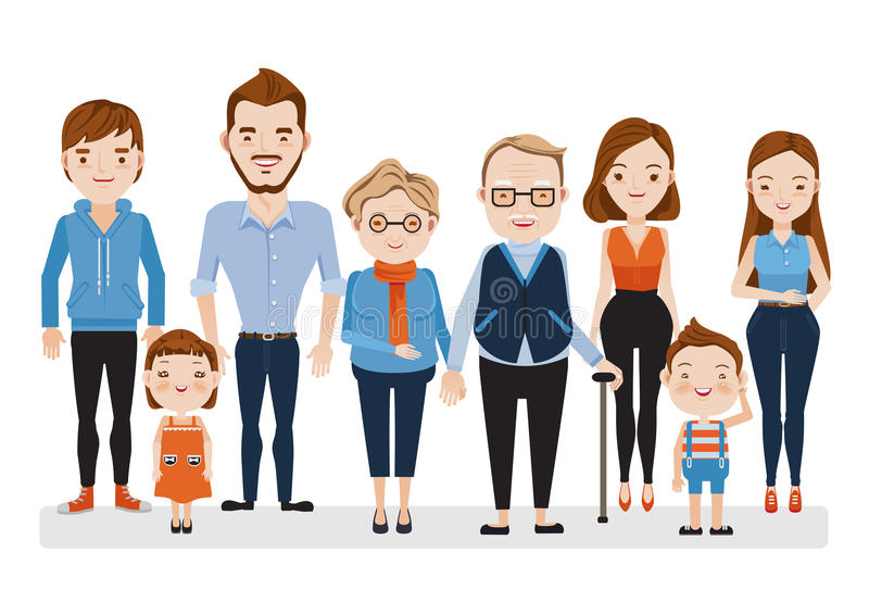 Caucasian da família ilustração royalty free