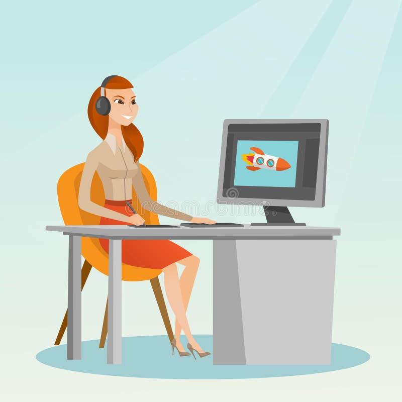 Caucasian designer using digital graphics tablet. vector illustration