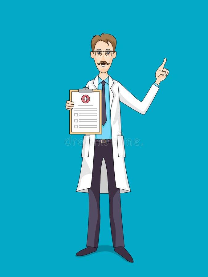 Caucasian doktor i det vita laget med medicinsk försäkring stock illustrationer