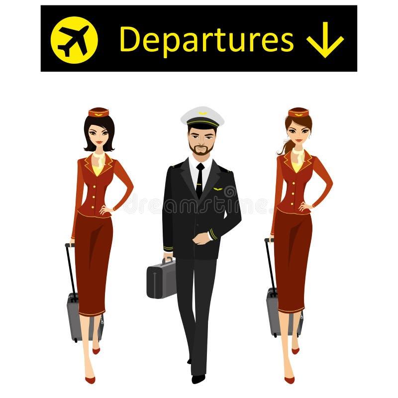 Caucasian eller arabisk pilot och två flygvärdinnor i likformign royaltyfri illustrationer
