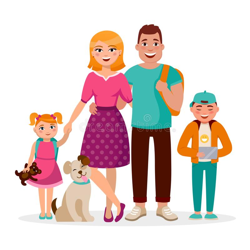 Caucasian family cartoon characters vector flat design isolated on white background. Happy parents and children together royalty free illustration