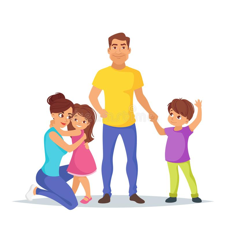 Caucasian family members, parents. Vector cartoon style illustration of happy Caucasian family members: dad, mother, son. Isolated on white background vector illustration