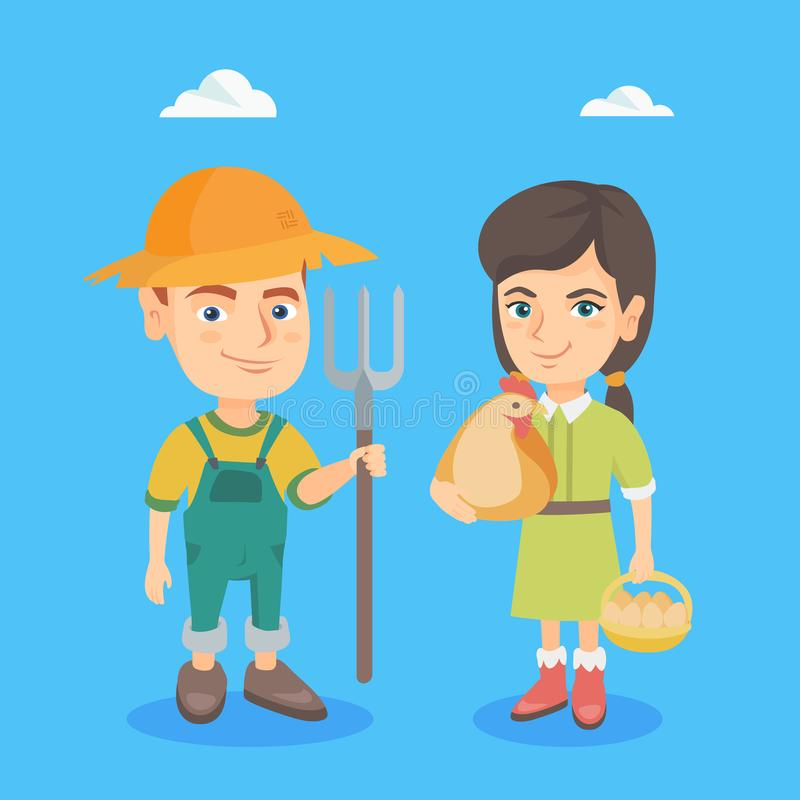 Caucasian boy and girl with chicken and rake. Caucasian farmer girl holding a chicken and basket of hen eggs in her hands and farmer boy in summer hat holding a royalty free illustration