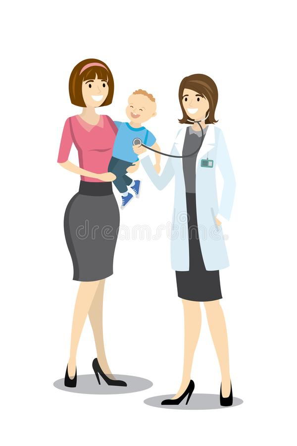 Caucasian female doctor listening to chest of kid patient with s. Tethoscope. Mother holds son in her arms, cartoon vector illustration stock illustration
