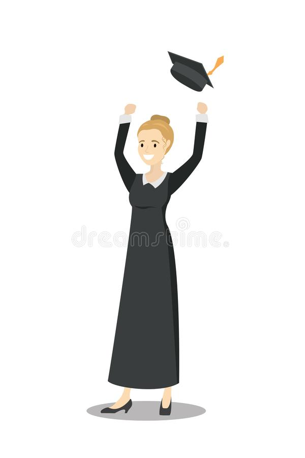 Caucasian female graduate throwing up her hat. Young Caucasian female graduate throwing up her hat. Excited graduate in cloak and graduation hat.Isolated on royalty free illustration