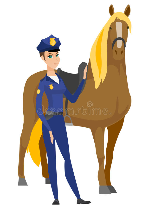 Free Caucasian Female Police Officer And Horse. Stock Photo - 92185820