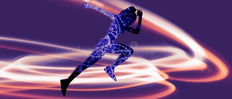 Caucasian women running on purple background stock photo