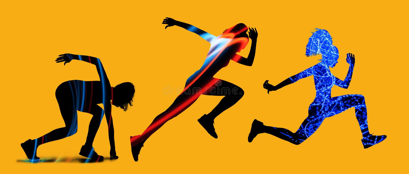 Caucasian women running on yellow background stock images
