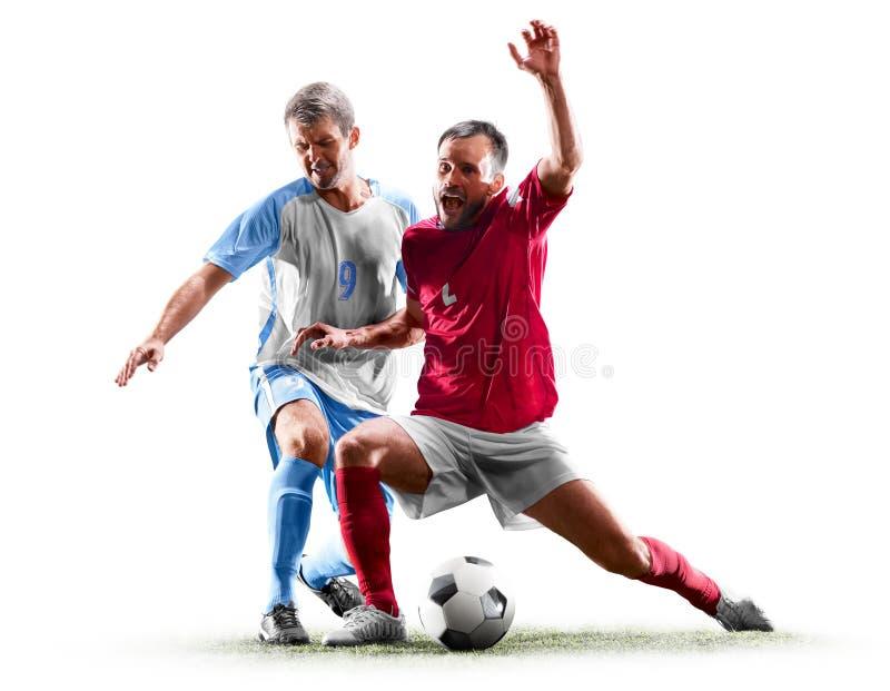 Caucasian fotbollspelare som isoleras på vit bakgrund royaltyfri fotografi