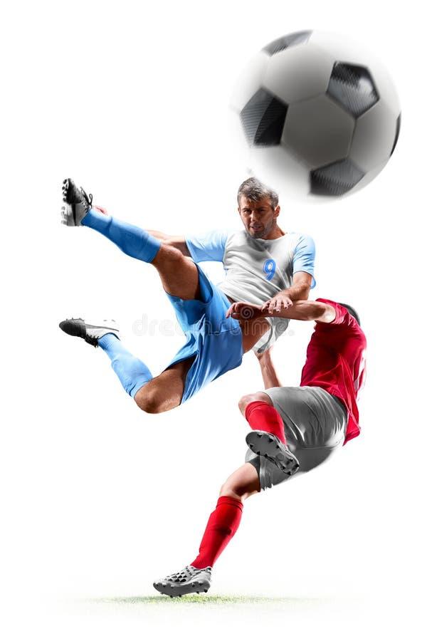 Caucasian fotbollspelare som isoleras på vit bakgrund arkivfoto
