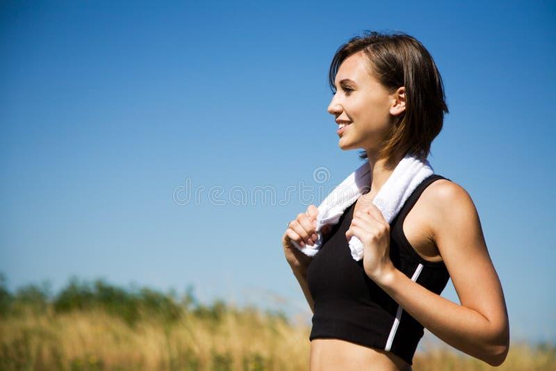 Caucasian girl exercise outdoor stock photo