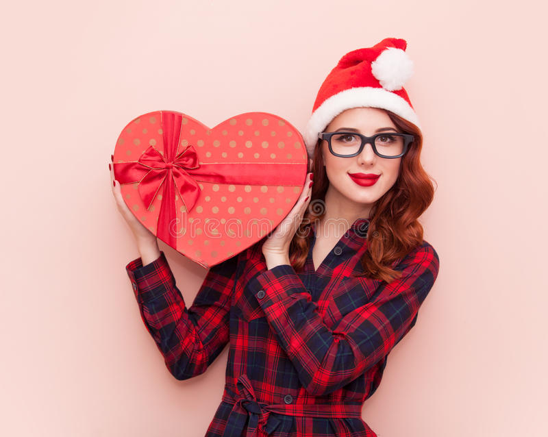 Caucasian girl with gift box royalty free stock image