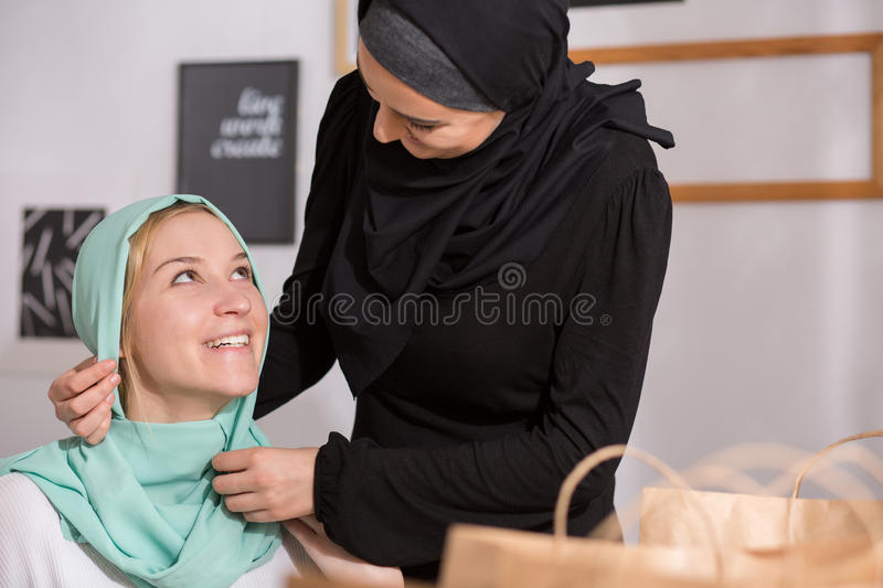 Caucasian girl in hijab royalty free stock photography