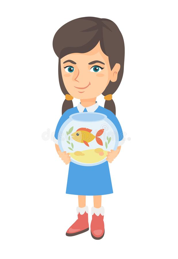 Caucasian girl holding aquarium with goldfish. royalty free illustration