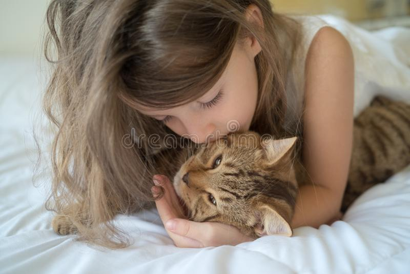 Child playing with cat on bed. Caucasian girl hugging cat on bed stock photos