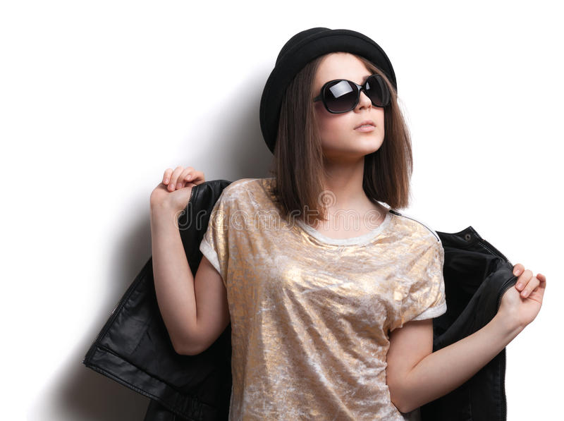 Download Girl In A Leather Jacket And Black Hat Stock Photo - Image: 30236490