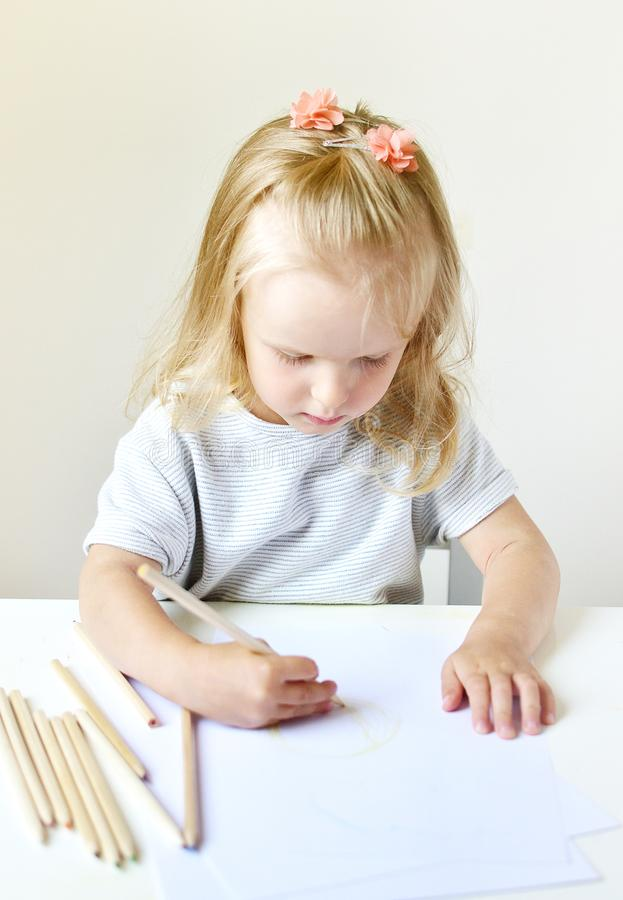 Caucasian Girl Painting Colorful Pencil at Home Early Education Preparing for School Preschool stock image