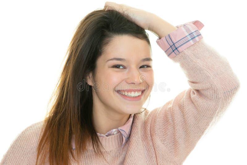 Caucasian girl portrait hands on shoulders happy attractive smile stock images