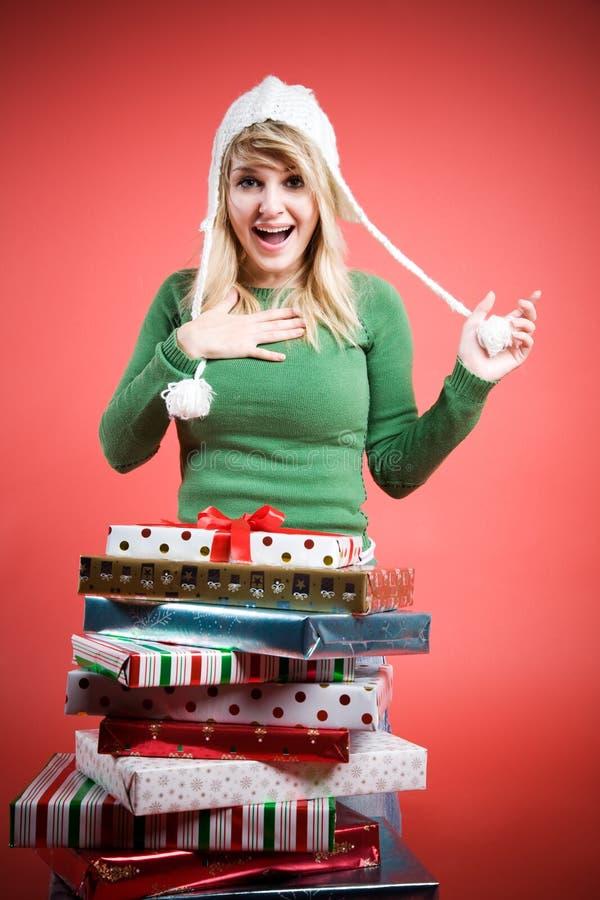 Caucasian Girl Receiving Gifts Stock Photo