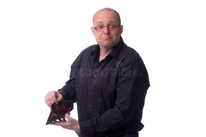 Caucasian grabb med en tom plånbok i händerna royaltyfria foton