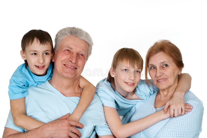 Download Caucasian Grandparents With Good Children Stock Image - Image: 24282017