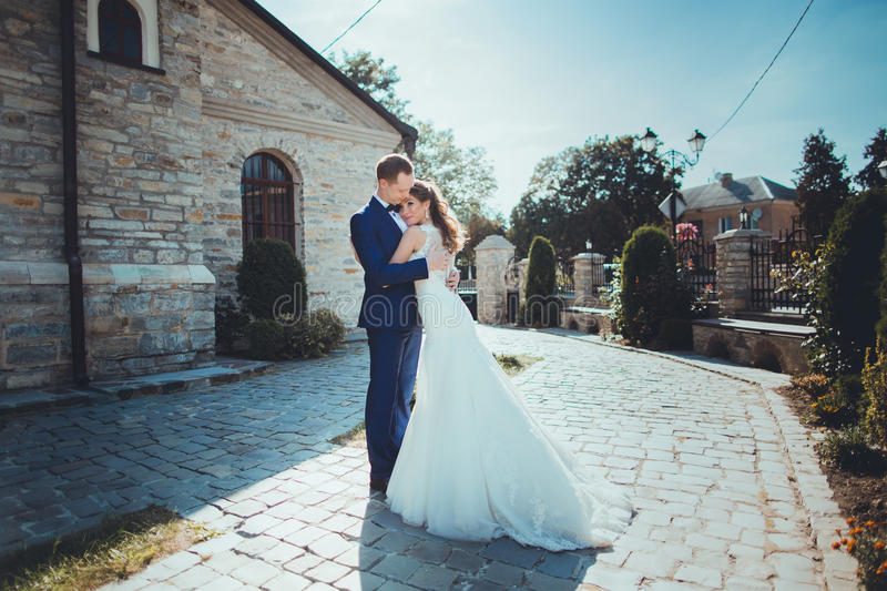 Download Caucasian Happy Romantic Young Couple Celebrating Their Marriage Stock Photo - Image: 83721786