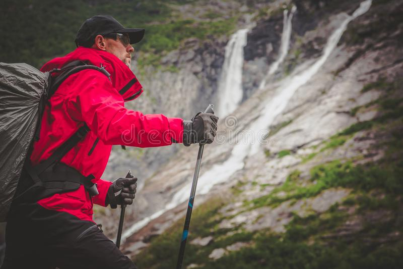 Caucasian Hiker on a Trail royalty free stock photos