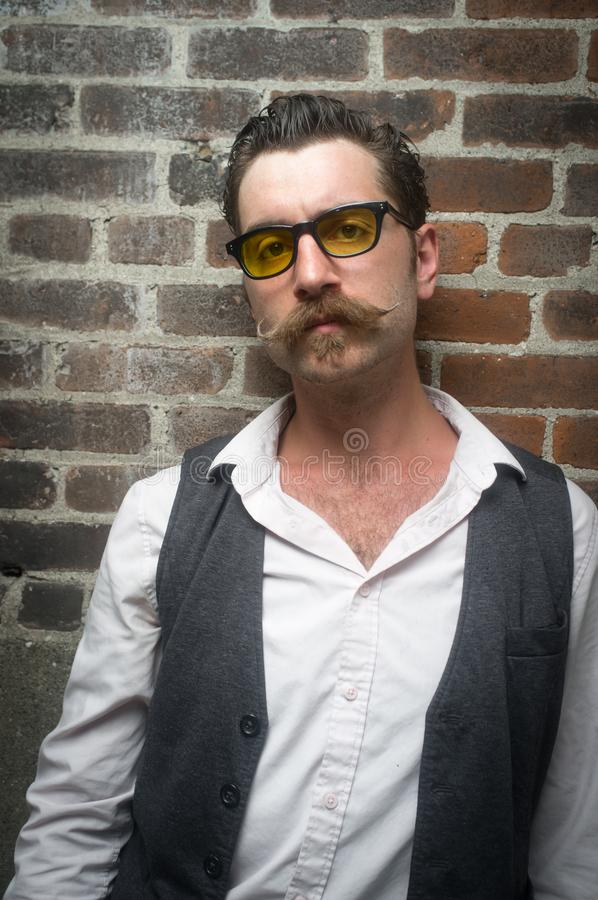Caucasian Man Handlebar Mustache royalty free stock photography